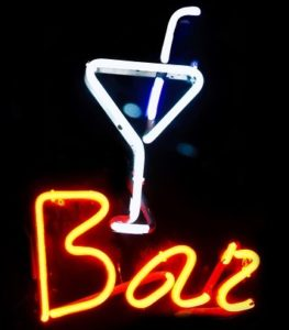 Neon martini bar sign